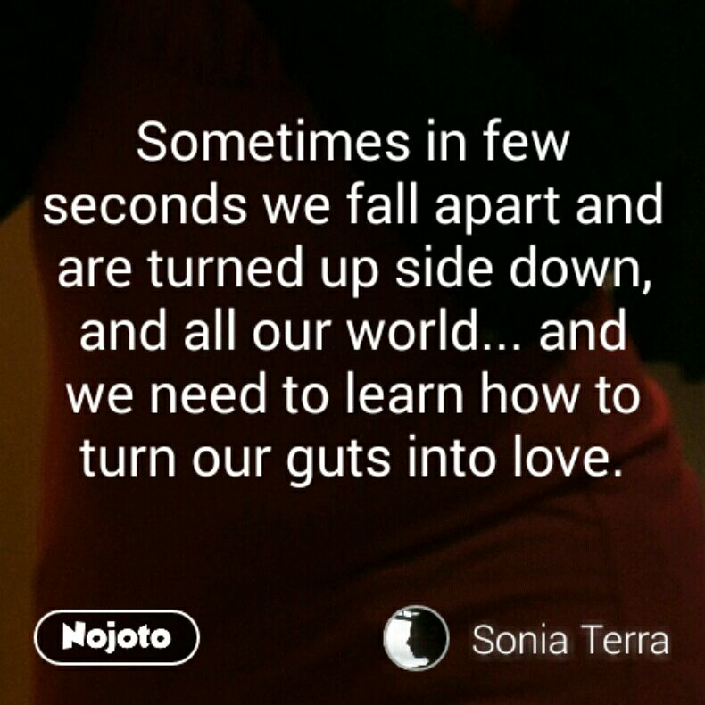 Sometimes in few seconds we fall apart and are turned up side down,  and all our world... and we need to learn how to turn our guts into love.