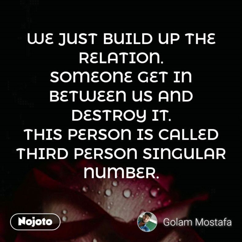 We Just Build Up The Relation Someone Get In Between Us And Destroy