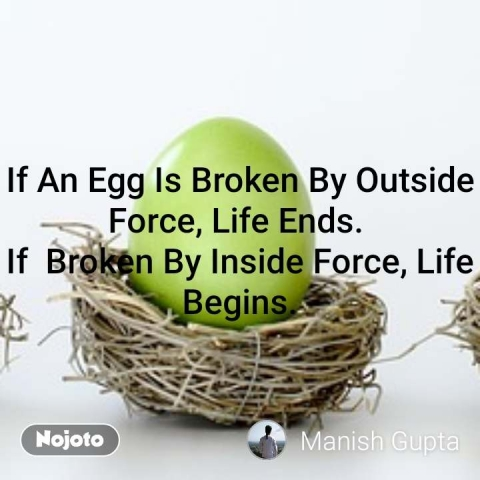 If An Egg Is Broken By Outside Force, Life Ends.  If  Broken By Inside Force, Life Begins. #NojotoQuote