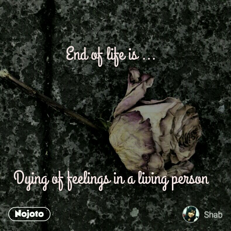 End of life is ...     Dying of feelings in a living person