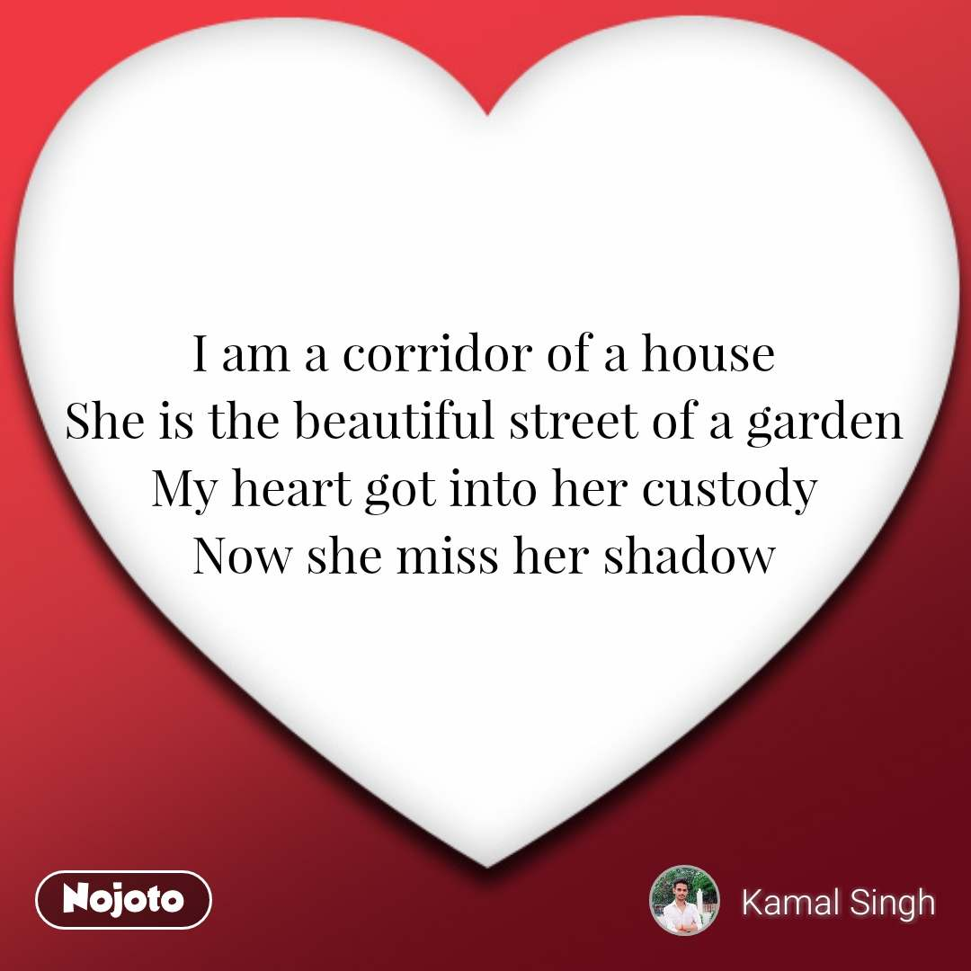 I am a corridor of a house She is the beautiful street of a garden My heart got into her custody Now she miss her shadow