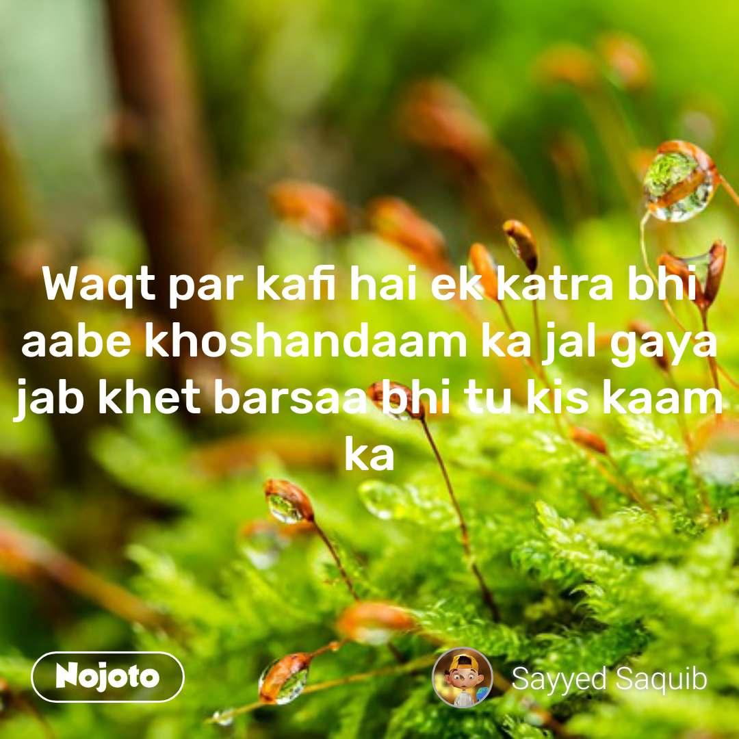Waqt par kafi hai ek katra bhi aabe khoshandaam ka jal gaya jab khet barsaa bhi tu kis kaam ka
