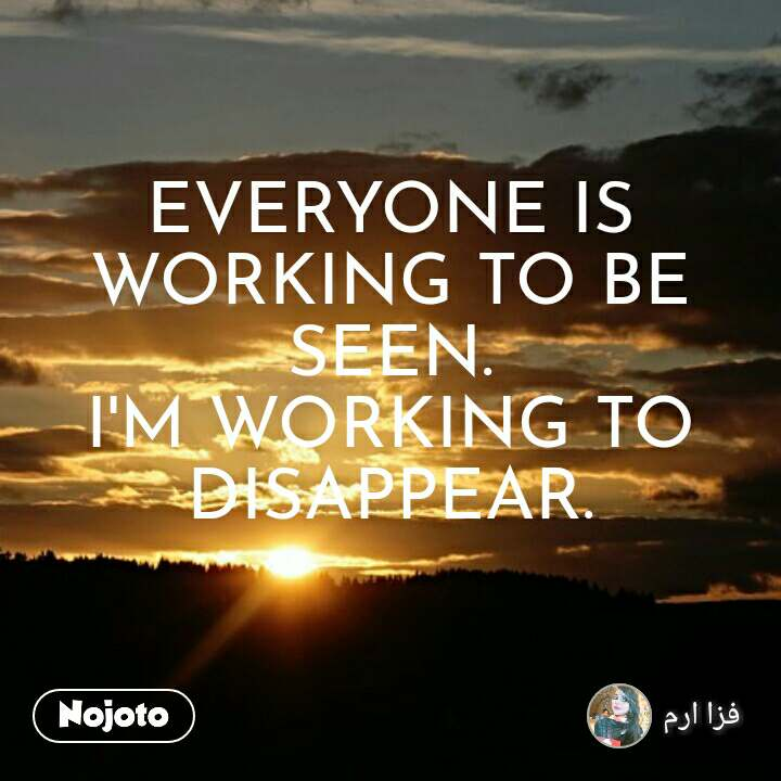 EVERYONE IS WORKING TO BE SEEN. I'M WORKING TO DISAPPEAR.