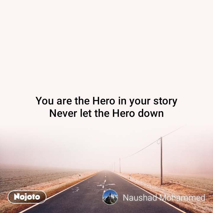 You are the Hero in your story Never let the Hero down