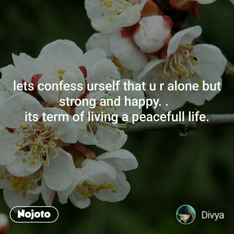 lets confess urself that u r alone but strong and happy. .   its term of living a peacefull life.