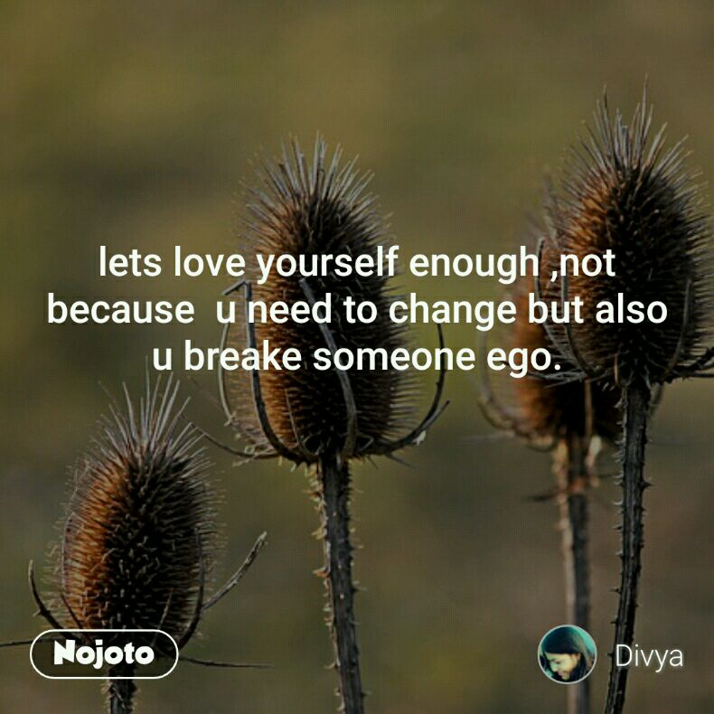 lets love yourself enough ,not because  u need to change but also u breake someone ego.