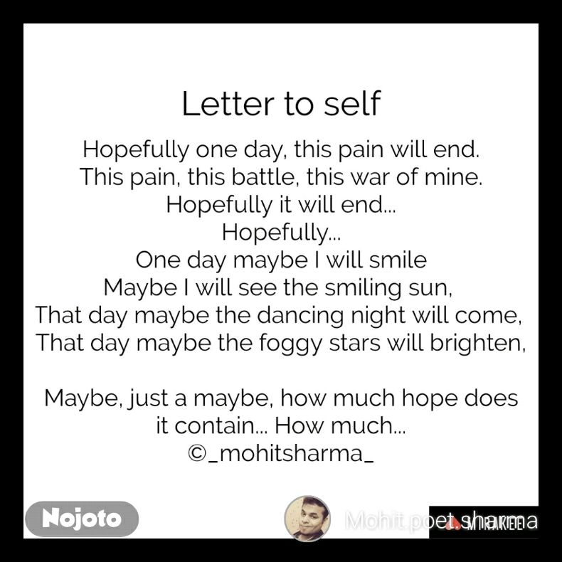 Letter Self English Nojoto Quotes Shayari Story Poem Jokes