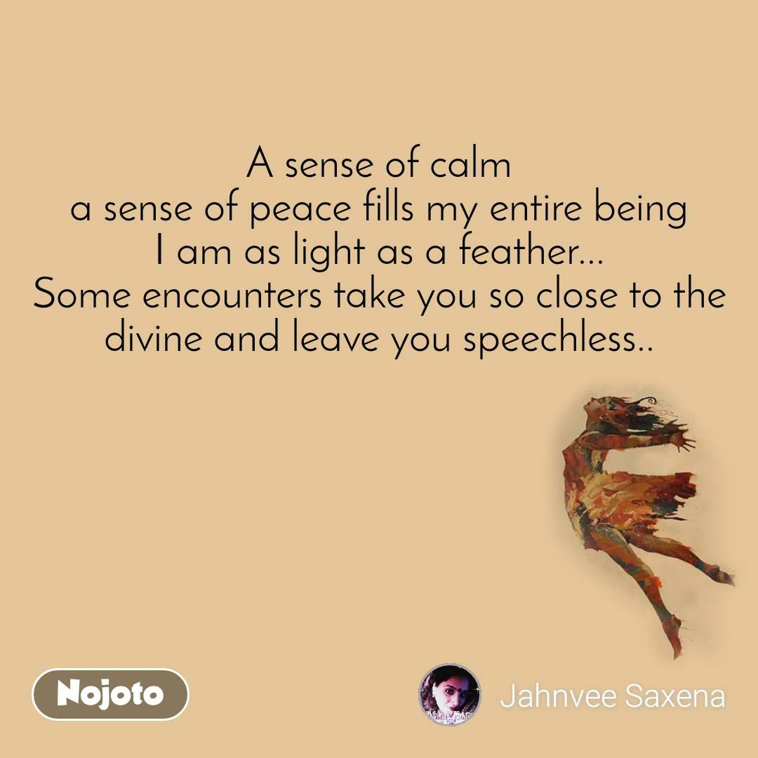 A sense of calm a sense of peace fills my entire being I am as light as a feather... Some encounters take you so close to the divine and leave you speechless..