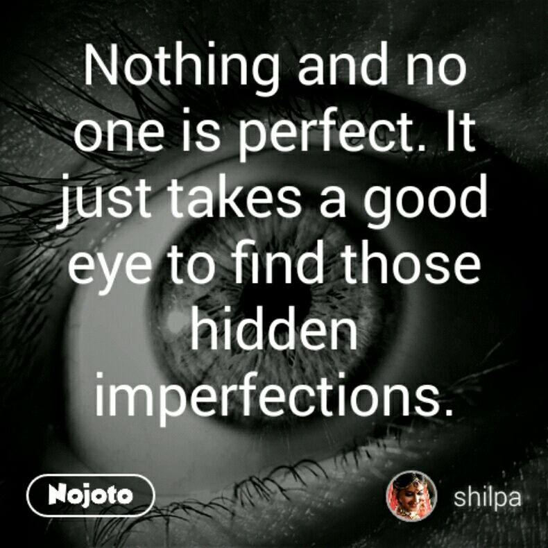 Nothing And No One Is Perfect It Just Takes A Good Eye To Find