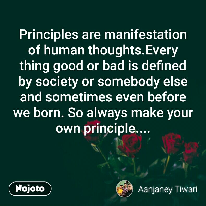 Principles are manifestation of human thoughts.Every thing good or bad is defined by society or somebody else and sometimes even before we born. So always make your own principle....