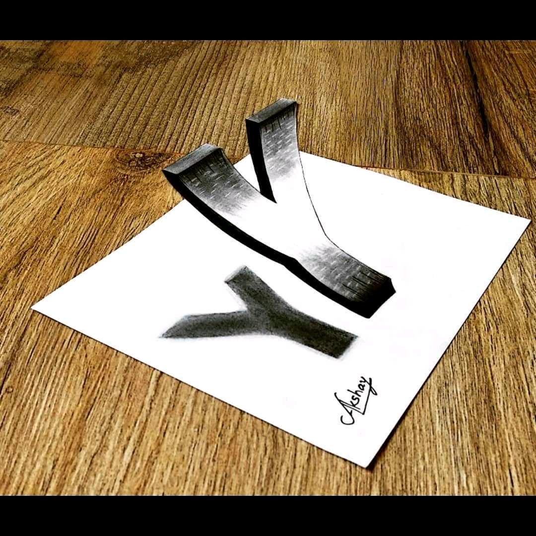 3D letter Y Drawing - By me 3D Trick Art with penc | Nojoto
