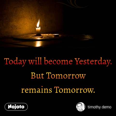 Today will become Yesterday. But Tomorrow remains Tomorrow. #NojotoQuote