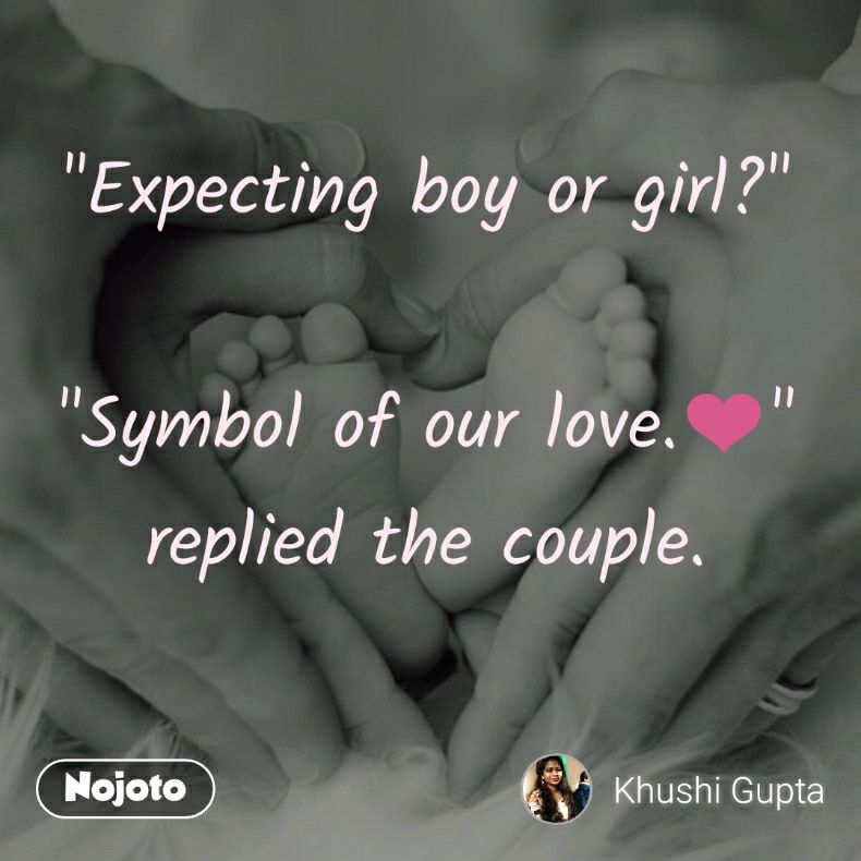 """""""Expecting boy or girl?""""  """"Symbol of our love.❤️"""" replied the couple."""