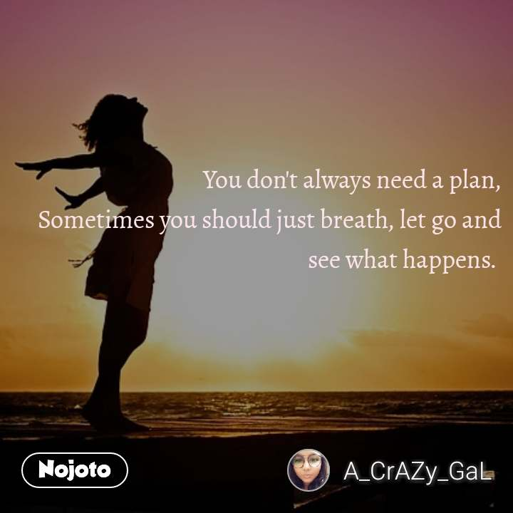 You don't always need a plan, Sometimes you should just breath, let go and see what happens.