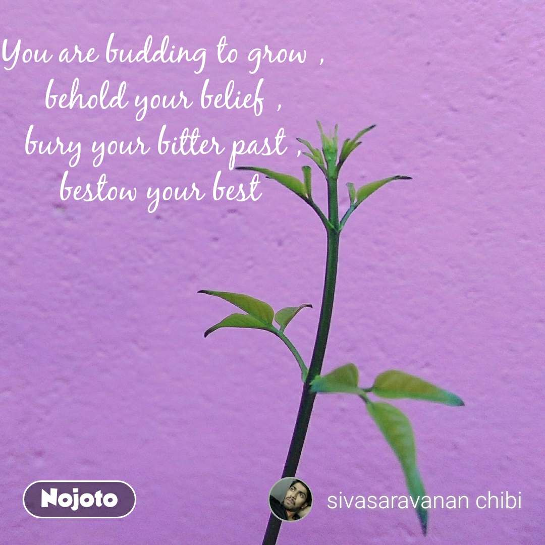 You are budding to grow , behold your belief , bury your bitter past , bestow your best