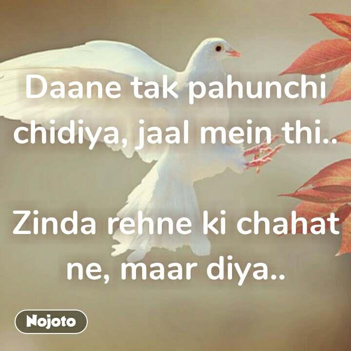 Daane tak pahunchi chidiya, jaal mein thi..  Zinda rehne ki chahat ne, maar diya.. #NojotoQuote