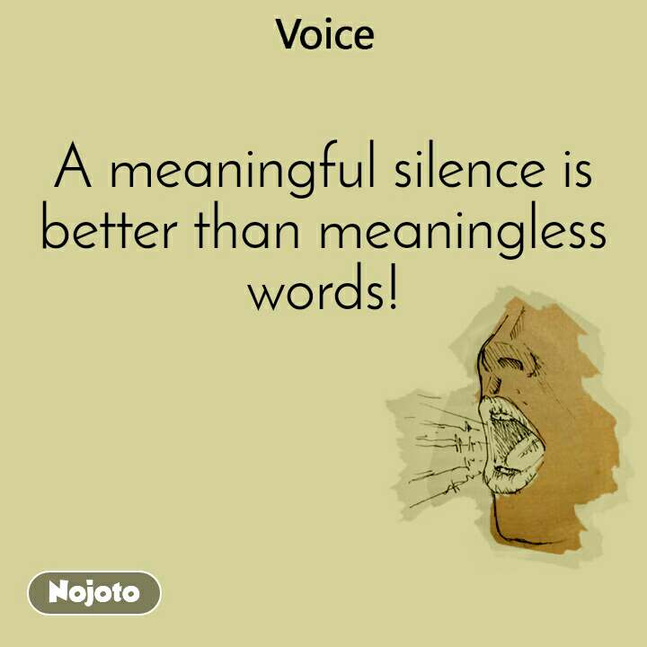 Voice  A meaningful silence is better than meaningless words!