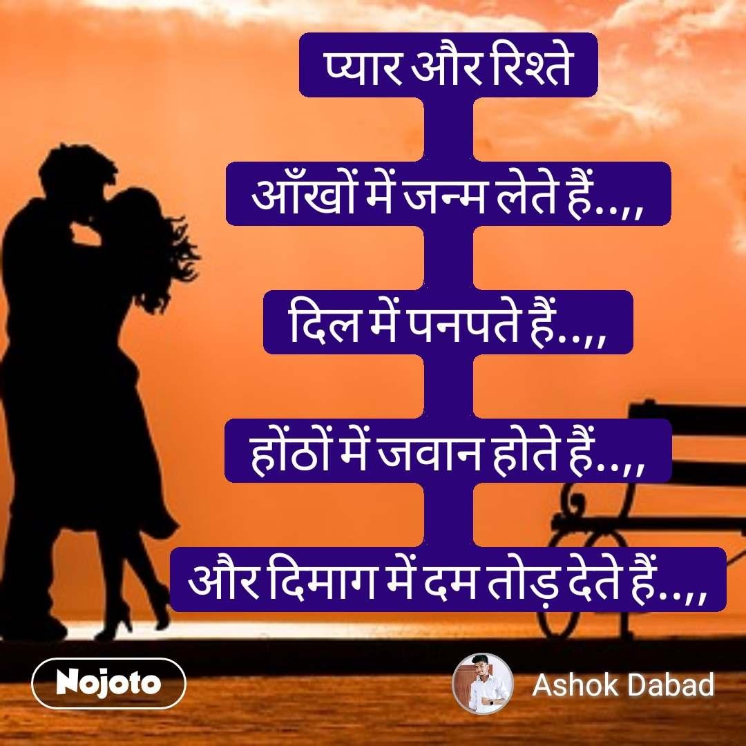 Tum se ek shikayat hai प्यार और रिश्ते  आँखों में जन्म लेते हैं..,,  दिल में पनपते हैं..,,  होंठों में जवान होते हैं..,,  और दिमाग में दम तोड़ देते हैं..,, #NojotoQuote