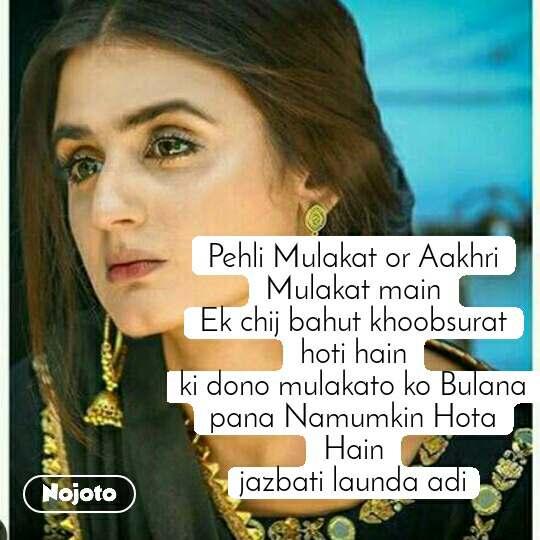 Pehli Mulakat or Aakhri Mulakat main Ek chij bahut khoobsurat hoti hain ki dono mulakato ko Bulana pana Namumkin Hota Hain jazbati launda adi