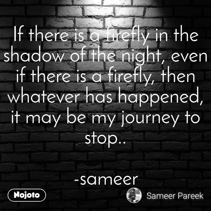 If there is a firefly in the shadow of the night, even if there is a firefly, then whatever has happened, it may be my journey to stop..  -sameer