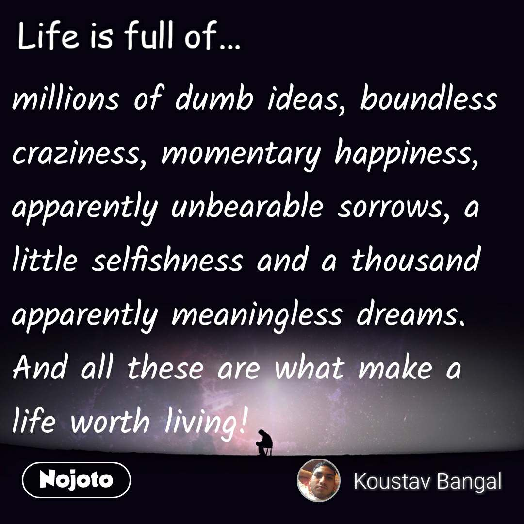 Life is full of millions of dumb ideas, boundless craziness, momentary happiness, apparently unbearable sorrows, a little selfishness and a thousand apparently meaningless dreams. And all these are what make a life worth living!