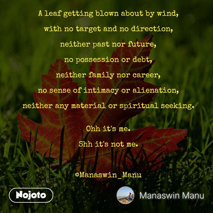 #OpenPoetry A leaf getting blown about by wind,  with no target and no direction,  neither past nor future,  no possession or debt,  neither family nor career,  no sense of intimacy or alienation,  neither any material or spiritual seeking.   Ohh it's me.  Shh it's not me.    ©Manaswin_Manu