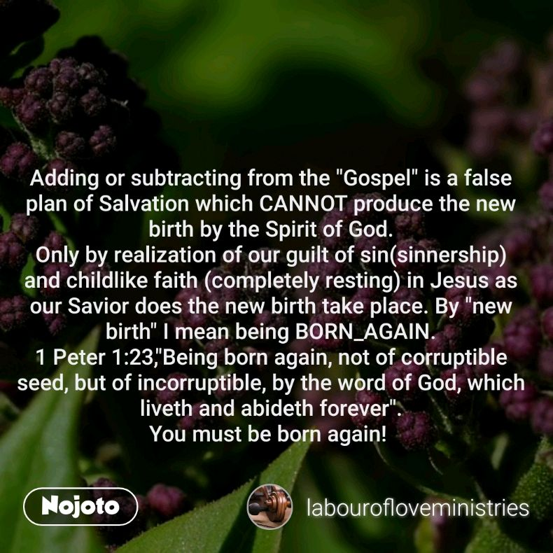 """Adding or subtracting from the """"Gospel"""" is a false plan of Salvation which CANNOT produce the new birth by the Spirit of God. Only by realization of our guilt of sin(sinnership) and childlike faith (completely resting) in Jesus as our Savior does the new birth take place. By """"new birth"""" I mean being BORN_AGAIN. 1 Peter 1:23,""""Being born again, not of corruptible seed, but of incorruptible, by the word of God, which liveth and abideth forever"""". You must be born again!"""