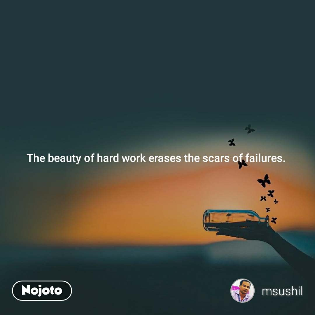 The beauty of hard work erases the scars of failures.
