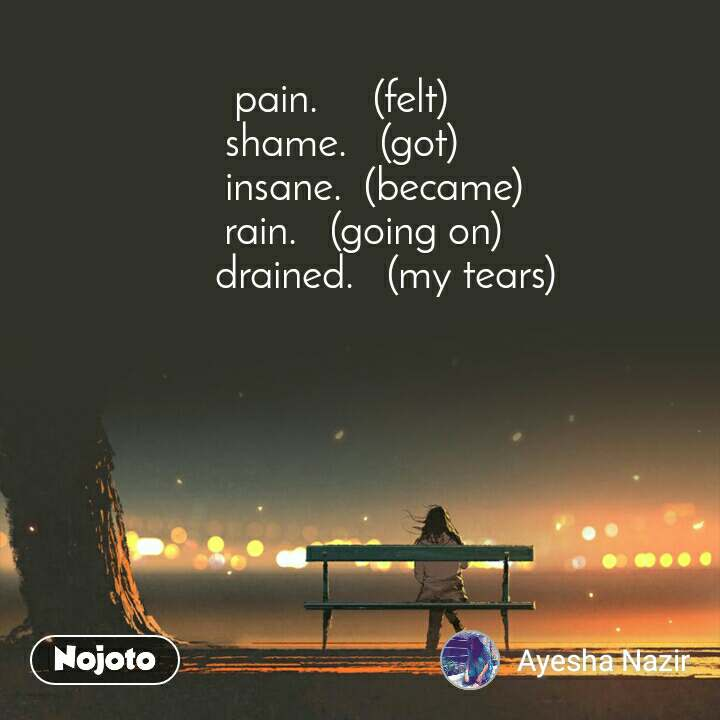 pain.     (felt) shame.   (got)       insane.  (became)     rain.   (going on)         drained.   (my tears)