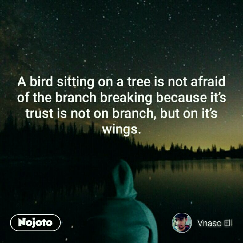 A bird sitting on a tree is not afraid of the branch breaking because it's trust is not on branch, but on it's wings.