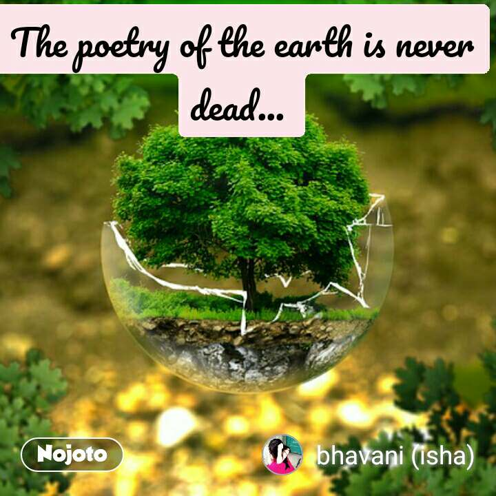 The poetry of the earth is never dead...