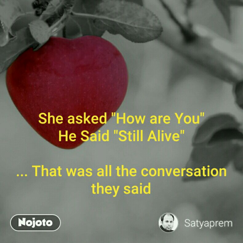 "She asked ""How are You"" He Said ""Still Alive""  ... That was all the conversation they said"