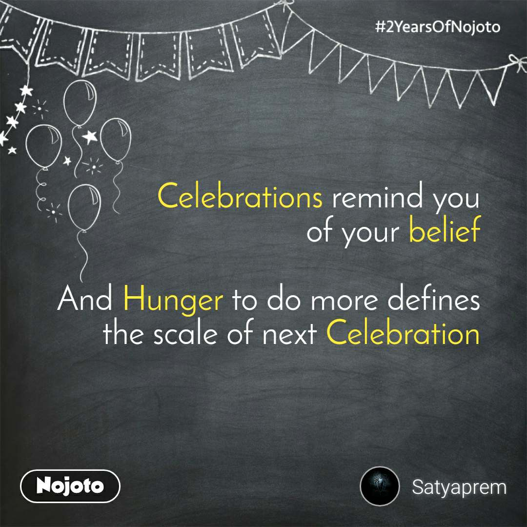 2 Years of Nojoto         Celebrations remind you of your belief  And Hunger to do more defines the scale of next Celebration