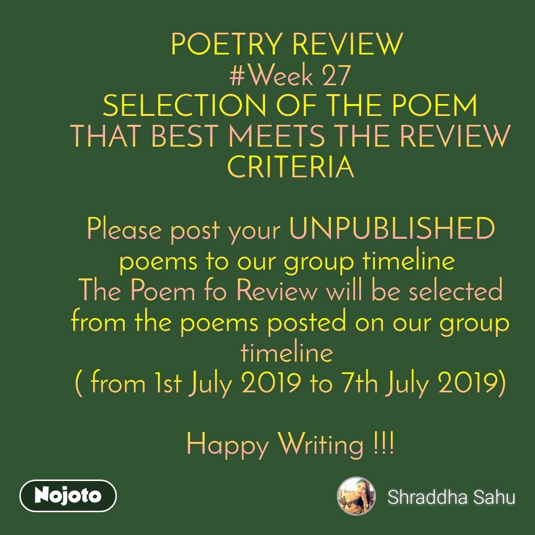 POETRY REVIEW #Week 27 SELECTION OF THE POEM THAT | English