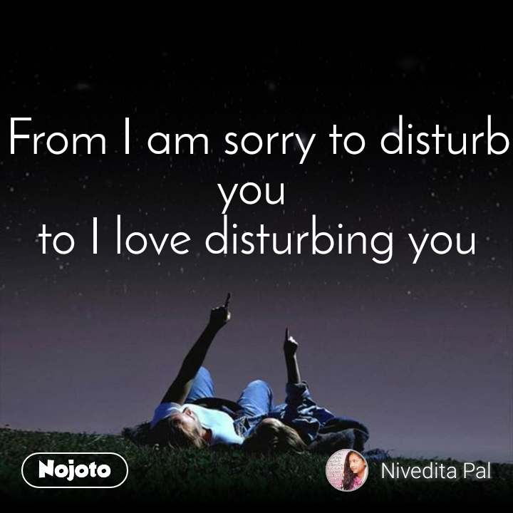 From I am sorry to disturb you  to I love disturbing you