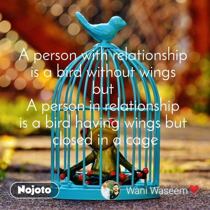 A person with relationship  is a bird without wings  but  A person in relationship  is a bird having wings but  closed in a cage