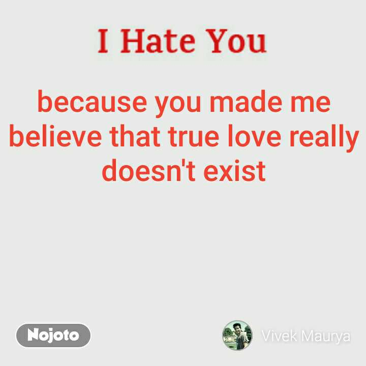 Because You Made Me Believe That True Love Really Doesnt Exist