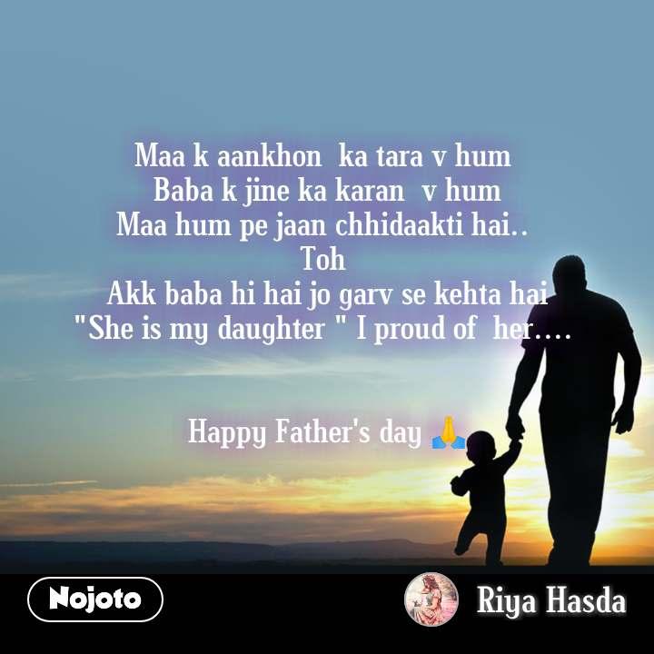 "Maa k aankhon  ka tara v hum  Baba k jine ka karan  v hum Maa hum pe jaan chhidaakti hai..  Toh  Akk baba hi hai jo garv se kehta hai ""She is my daughter "" I proud of  her....    Happy Father's day 🙏"