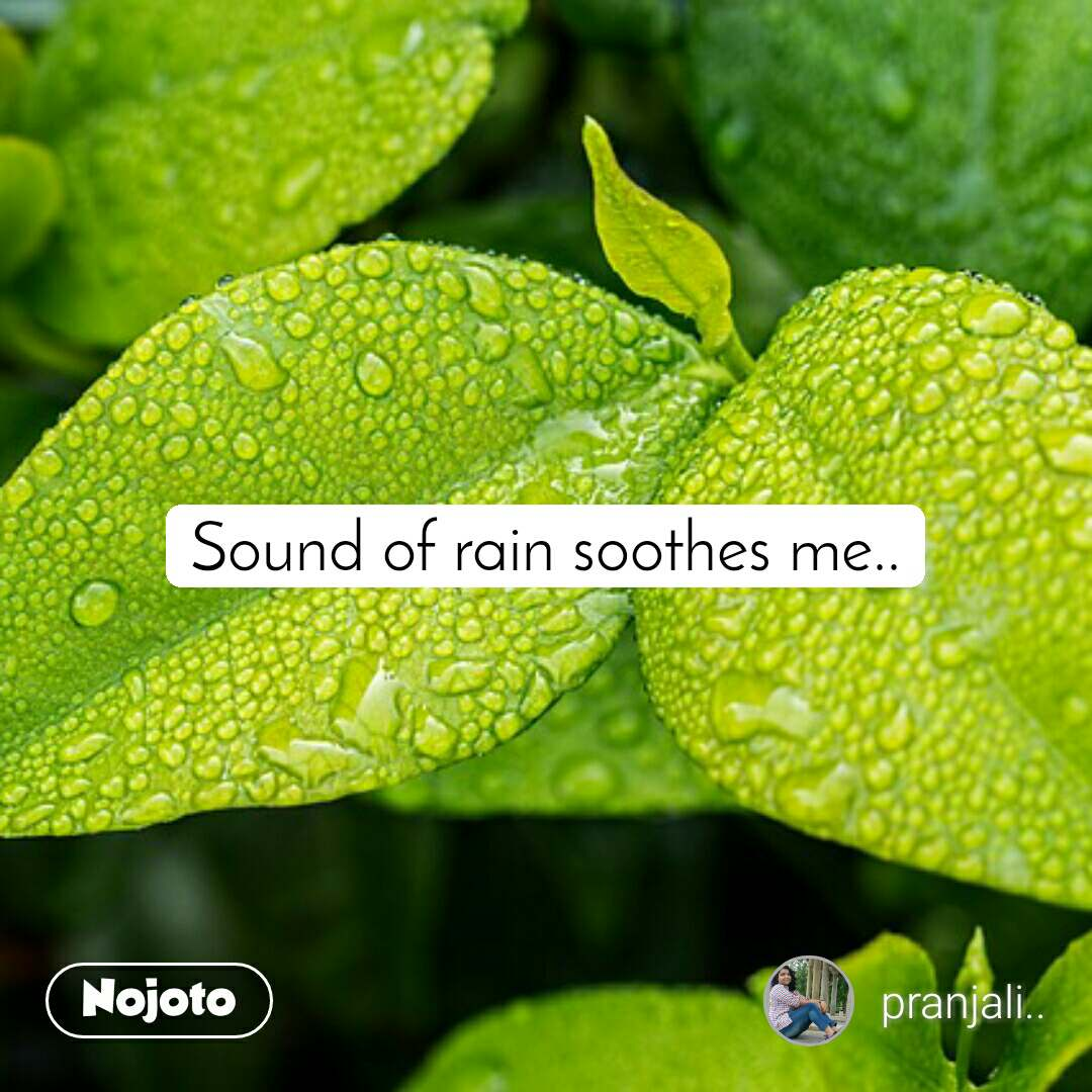 Sound of rain soothes me..