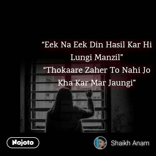 """""""Eek Na Eek Din Hasil Kar Hi Lungi Manzil"""" """"Thokaare Zaher To Nahi Jo Kha Kar Mar Jaungi"""""""