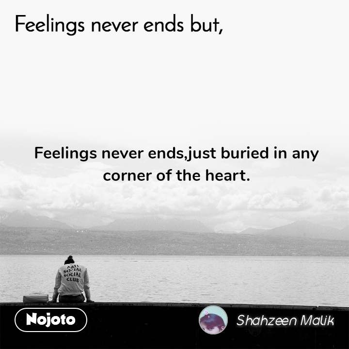 Feelings never ends but, Feelings never ends,just buried in any corner of the heart.
