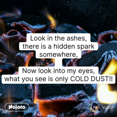 Look in the ashes, there is a hidden spark somewhere,  Now look into my eyes, what you see is only COLD DUST!! #NojotoQuote