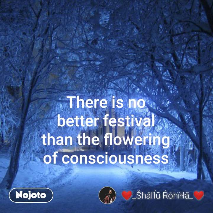 There is no  better festival  than the flowering of consciousness