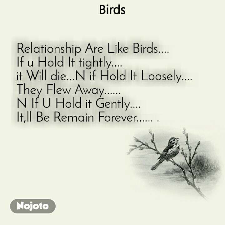 Birds Relationship Are Like Birds.... If u Hold It tightly.... it Will die...N if Hold It Loosely.... They Flew Away...... N If U Hold it Gently.... It,ll Be Remain Forever...... .