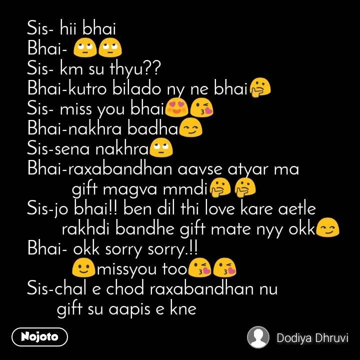 Sis- hii bhai Bhai- 🙄🙄 Sis- km su thyu?? Bhai-kutro bilado ny ne bhai🤔 Sis- miss you bhai😍😘 Bhai-nakhra badha😏 Sis-sena nakhra🙄 Bhai-raxabandhan aavse atyar ma           gift magva mmdi🤔🤔 Sis-jo bhai!! ben dil thi love kare aetle        rakhdi bandhe gift mate nyy okk😏 Bhai- okk sorry sorry.!!          🙂missyou too😘😘 Sis-chal e chod raxabandhan nu        gift su aapis e kne