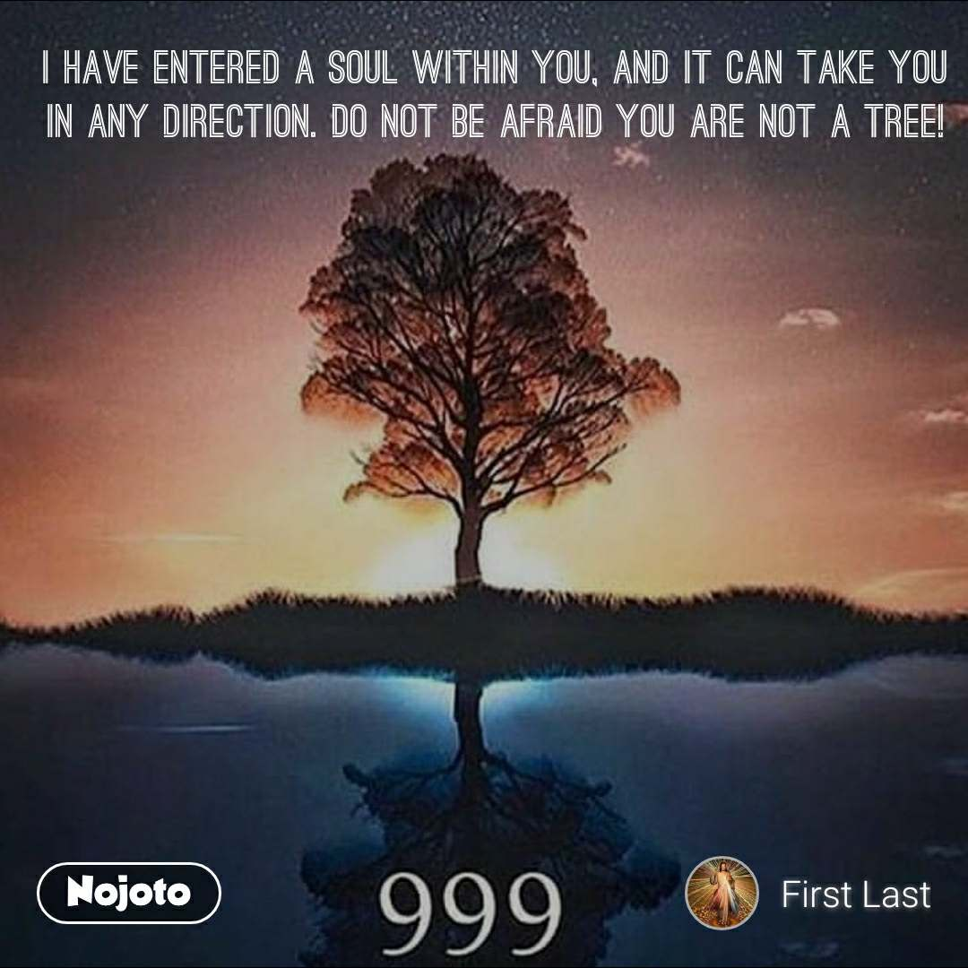 I have entered a soul within you, and it can take you in any direction. Do not be afraid you are not a tree!