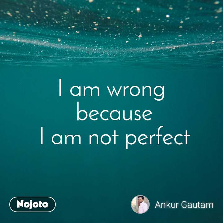 I am wrong  because  I am not perfect