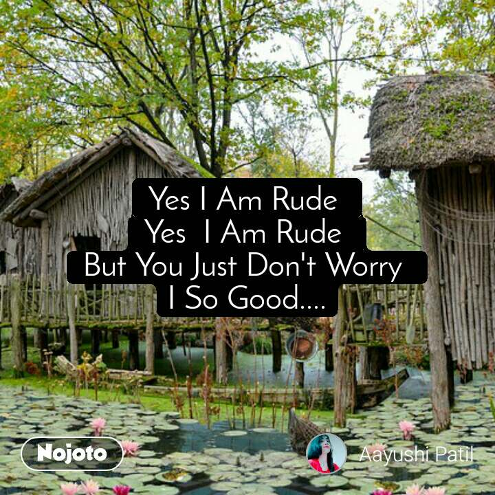 Yes I Am Rude  Yes  I Am Rude  But You Just Don't Worry  I So Good....