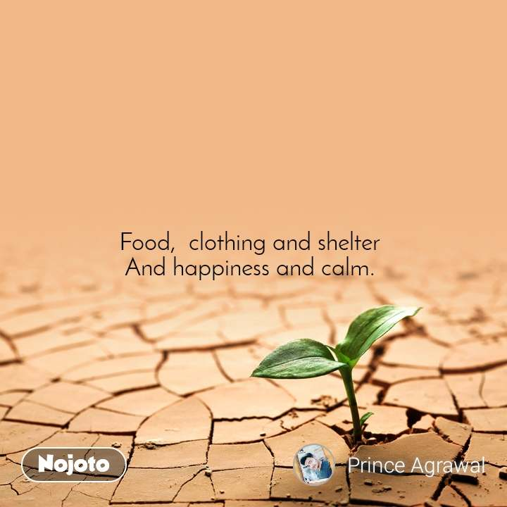 Food,  clothing and shelter  And happiness and calm.