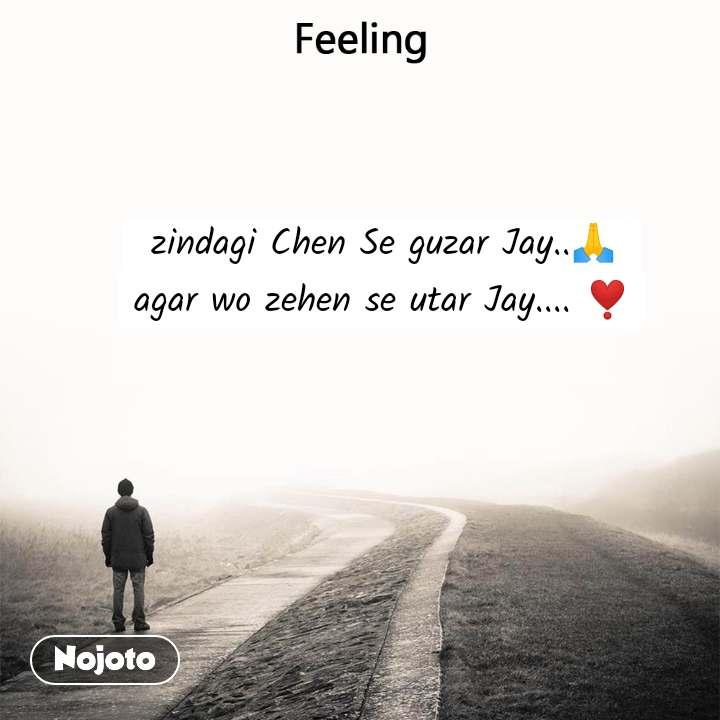 Feeling zindagi Chen Se guzar Jay..🙏  agar wo zehen se utar Jay.... ❣️